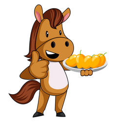 Horse with mangos on white background vector