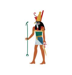 horus god sky and sun with head falcon vector image