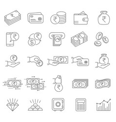indian rupee financial icons vector image