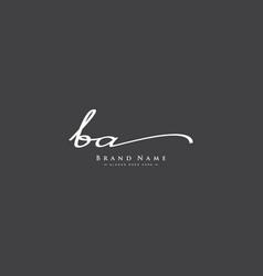 Initial letter ba logo - hand drawn signature logo vector