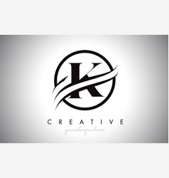 k letter logo design with circle swoosh border vector image