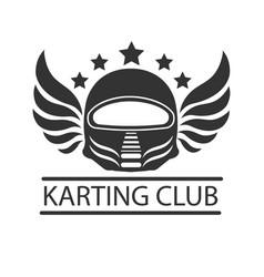 Karting club or kart races racer helmet vector