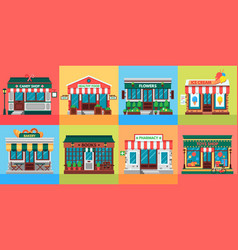 local shops facades grocery shop doors old vector image