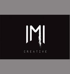 m monogram letter logo design brush paint stroke vector image