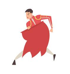 Man bullfighter toreador character dressed in red vector