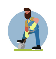 man digging the ground vector image