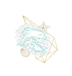 Marine line art golden wreath sea corals dolphin vector