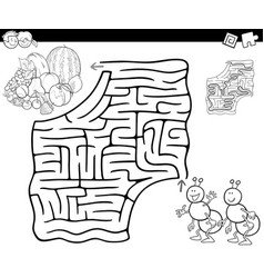Maze with ants and fruits for coloring vector