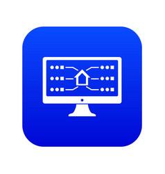 monitor icon blue vector image