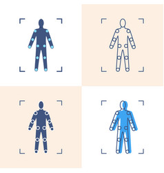 movement tracking icon set in flat and line style vector image