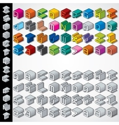 Multicolored and Monochrome Isometric 3D Font vector image