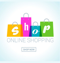 Online shopping shopping bags logo internet shop vector