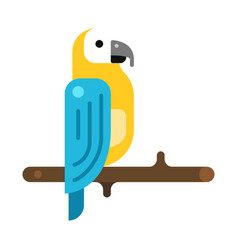 parrot on wooden tree branch icon flat vector image