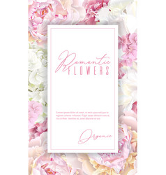 Peony pink vertical frame vector