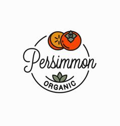 Persimmon fruit logo round linear persimmon vector