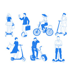 personal mobility electric transport with bicycle vector image