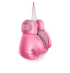 pink pair boxing glove on lace realistic vector image