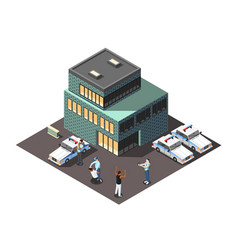 Police isometric composition vector