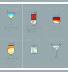 Poster cocktails blue lagoon grayish blue vector