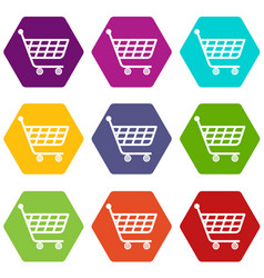 Product trolley icons set 9 vector