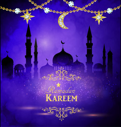 ramadan kareem greeting with mosque vector image