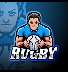 Rugesport logo mascot design vector