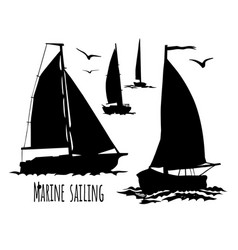 sailing yacht silhouette set vector image vector image