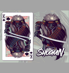 samurai for king spades playing card design vector image