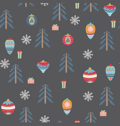 seamless pattern with christmas symbols vector image