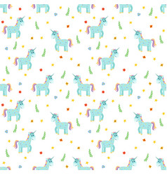 Seamless pattern with cute blue unicorns fashion vector