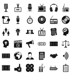 Service channel icons set simple style vector