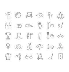 Set Flat Line Icons Golf vector image