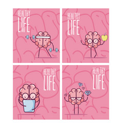 set of brain cartoons card vector image