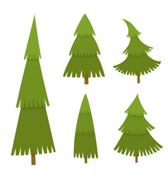 set of christmas tree in cartoon style vector image