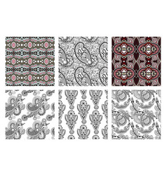 set of hand drawing ornate seamless flower paisley vector image