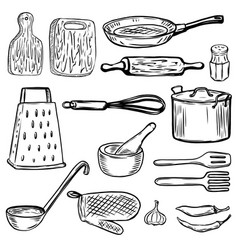 Set of hand drawn kitchen tools design elements vector