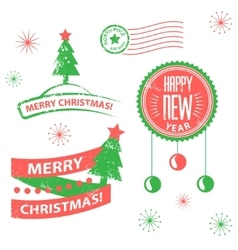 Set of labels and elements for Christmas and New vector