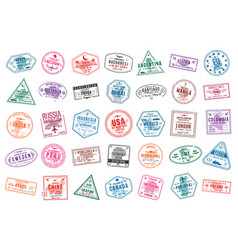 Set of travel visa stamps for passports abstract vector