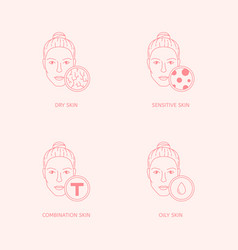 Set skin types and conditions on female faces vector
