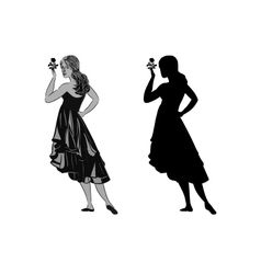 Silhouette of a girl with a rose vector image