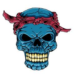 Skull head with bandana - art vector