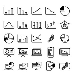 statistic graph icon set vector image