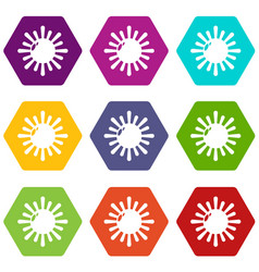 sun icons set 9 vector image