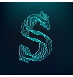 The letter S Polygonal letter Low poly model vector image