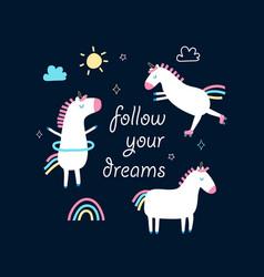 unicorns doodle vector image
