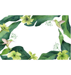 watercolor card tropical leaves vector image