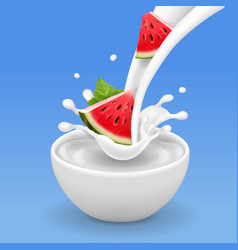 watermelon in yogurt bowl or milk flow vector image