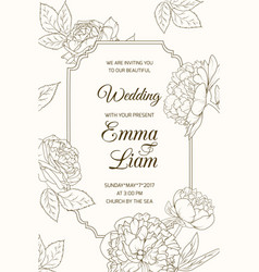 wedding invitation card template rose peony flower vector image