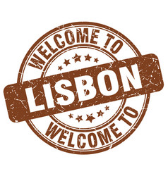 welcome to lisbon brown round vintage stamp vector image