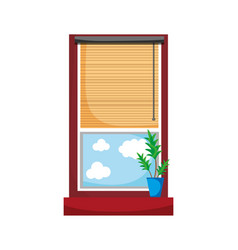 Window with curtain blind open and plant vector